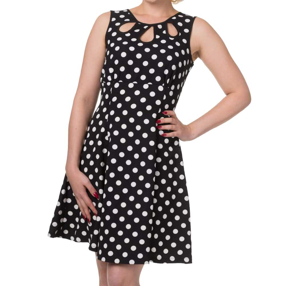 Vintage point jurk met polka dot stippen print zwart/wit - Vintage Retro Rockabilly - Dancing Days