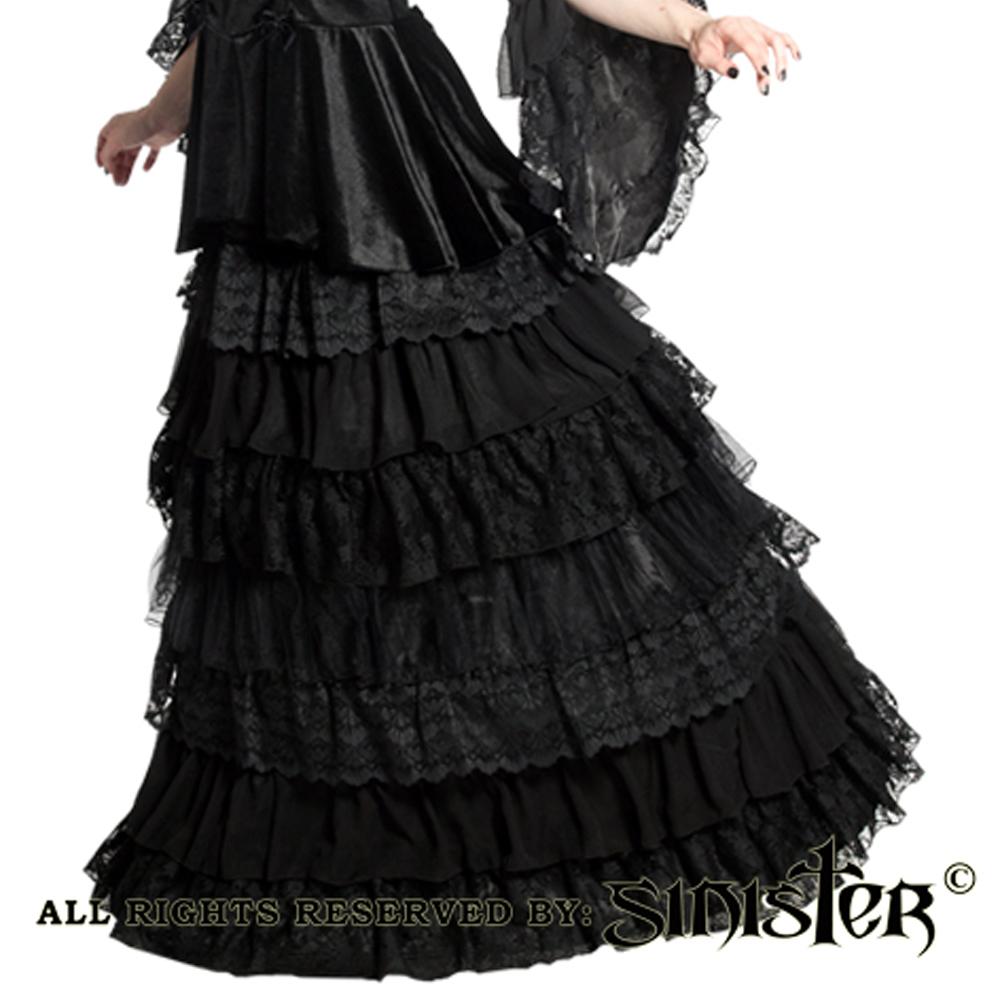 Patience lange rok met lagen zwart - Got