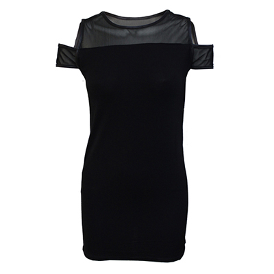 Zwarte gothic metal jurk met gaas stof
