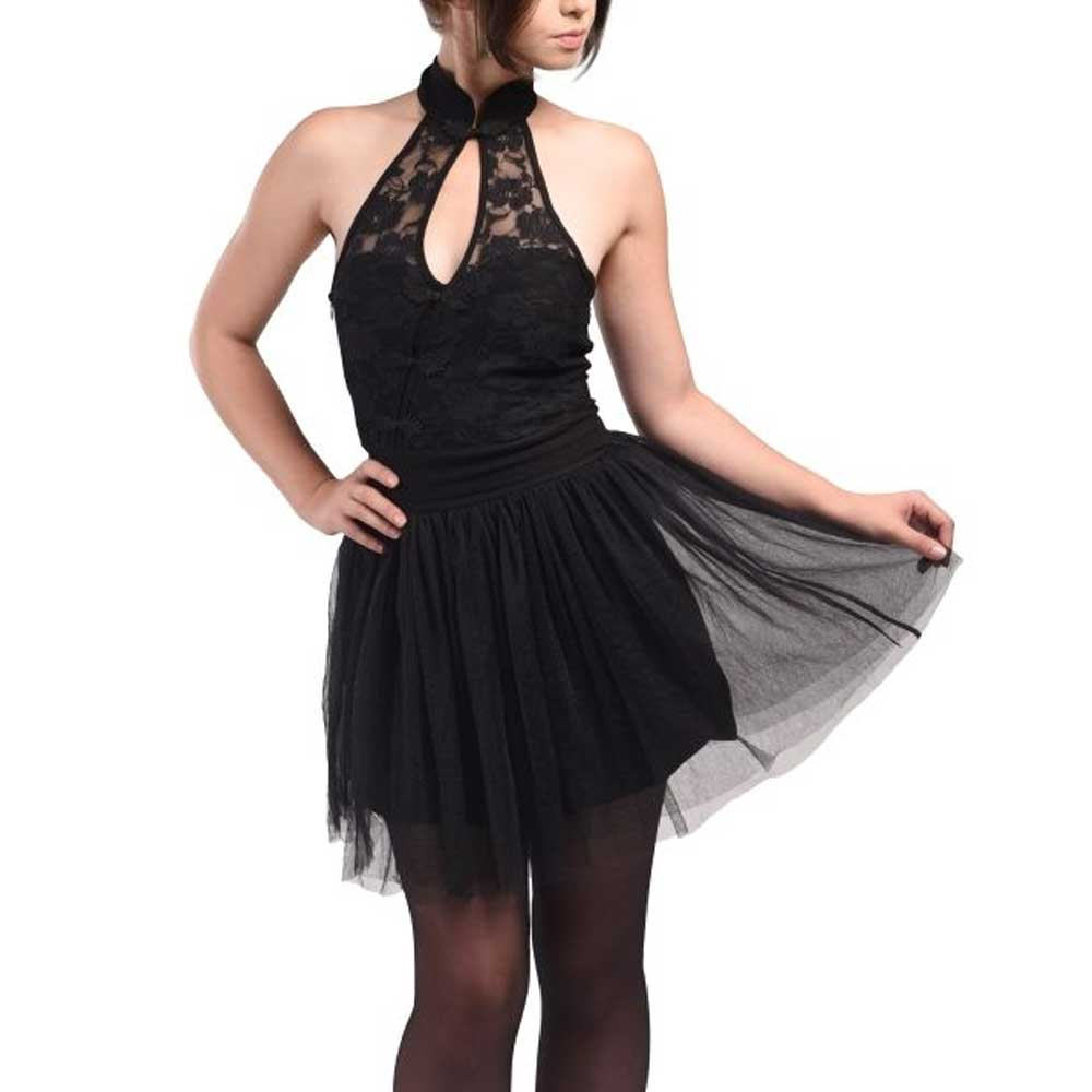 Short halter dress with tulle and lace b