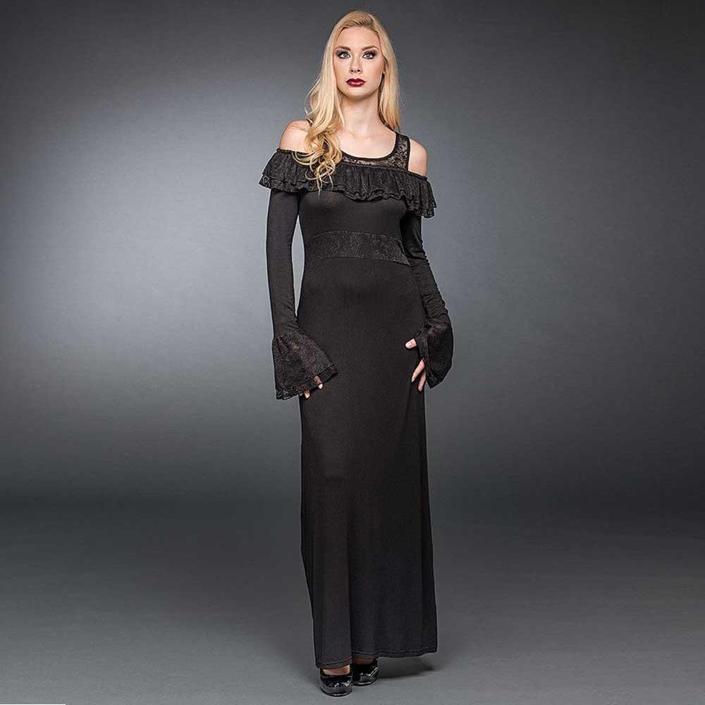Lange jurk met geplooide off shoulder ha
