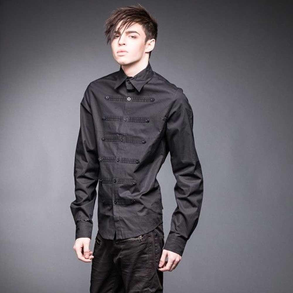 Military Style shirt zwart